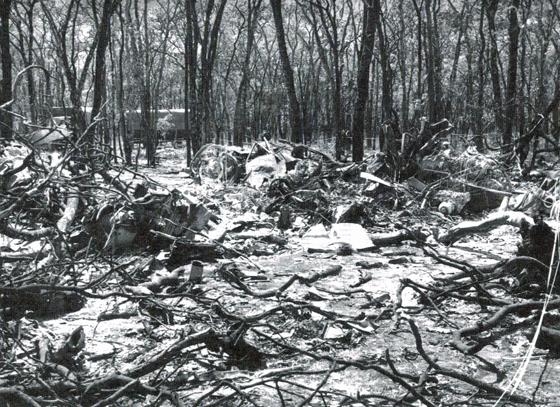 Ndola 18 september 1961 - resterna av det kraschade flygplanet.