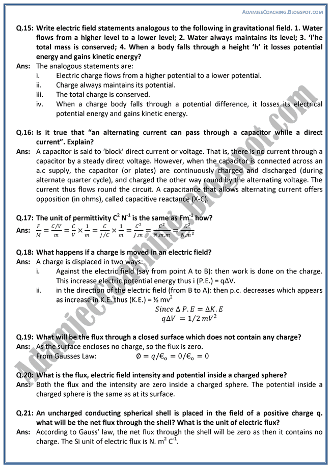 Electrostatics-Question-Answers-Physics-XII