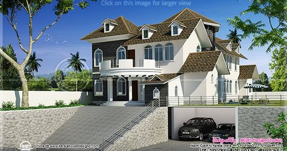 3400 square feet modern hill side home design kerala for 3400 square feet house plan