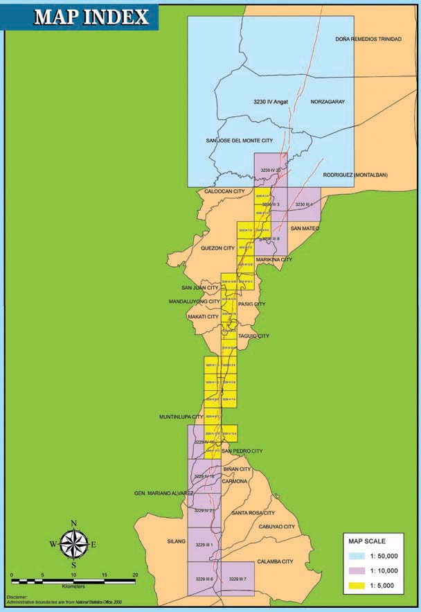 the map index shows the areas traversed by the east and west valley faultsthe color coded boxes indicate magnification scale of the atlas map sheets