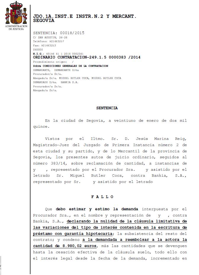cláusula suelo Bankia