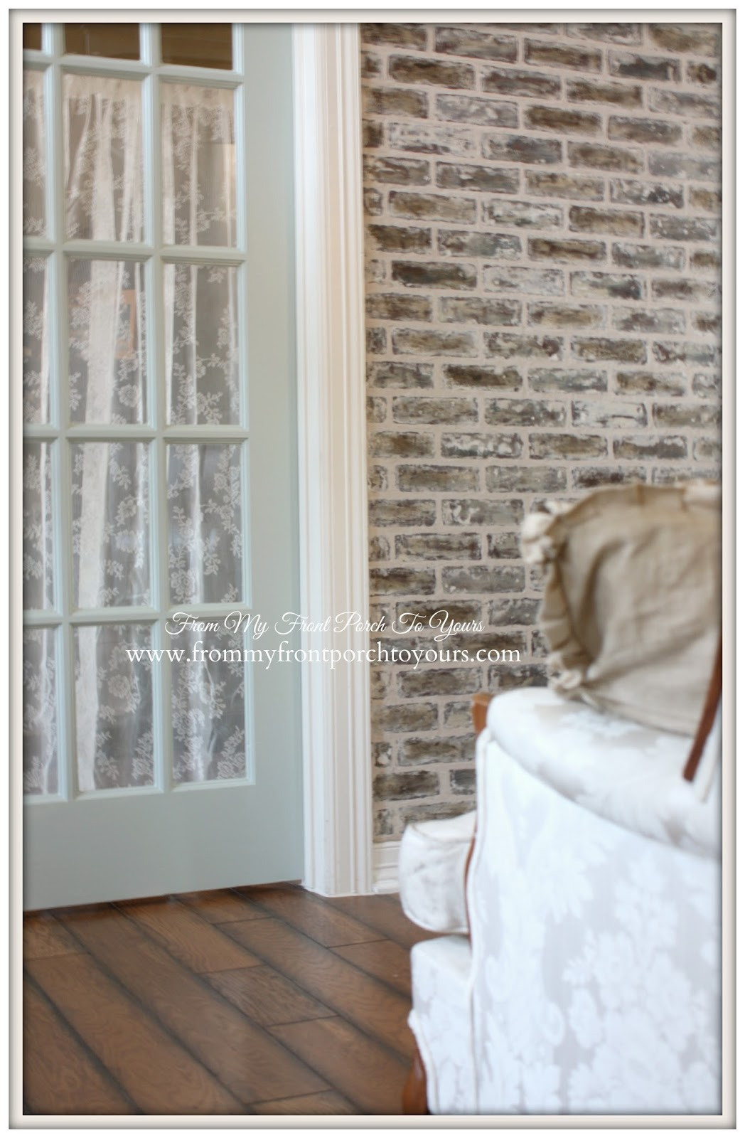 from my front porch to yours diy faux brick wall reveal. Black Bedroom Furniture Sets. Home Design Ideas