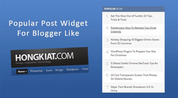 Popular Post Widget For Bloggers