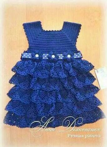 Vestido de Bebe azul a Crochet