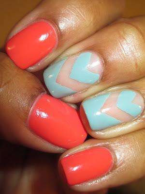 China glaze, For Audrey, Sally Hansen, Blaze, mint, coral, chevron, funky french, frenchie, nails, nail art. nail design, mani