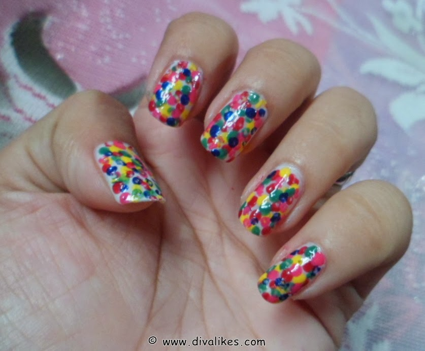 Rainbow Polka Dots Nail Art Tutorial Diva Likes