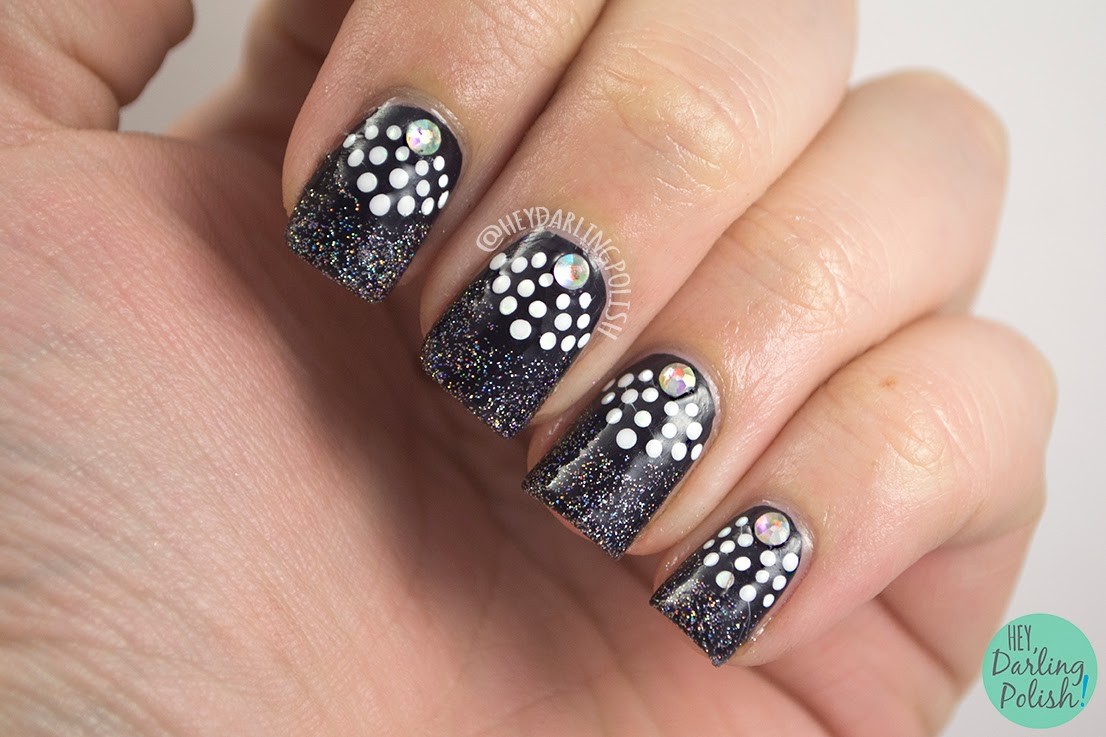 nails, nail art, nail polish, polish, black, white, glitter, fairy dust, rhinestones, the nail challenge collaborative, hey darling polish