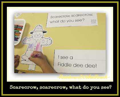 photo of: Fall Scarecrow Literacy Idea reflects style of Brown Bear meter (Fall RoundUP from RainbowsWithinReach)