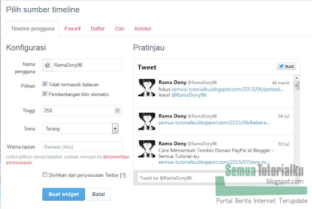 Cara Menambahkan Widget Feed Twitter di Blogger