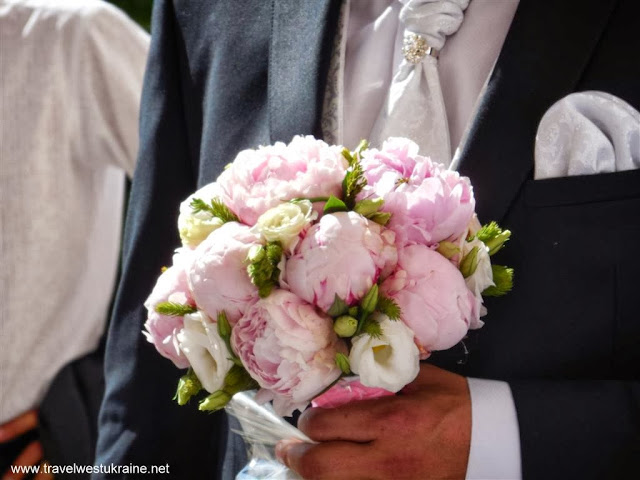 Bridal bouquet, pink peonies and white roses, Ukraine