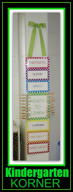 photo of: Vertical Behavior Chart from Kindergarten Korner (Behavior Chart RoundUP via RainbowsWithinReach)