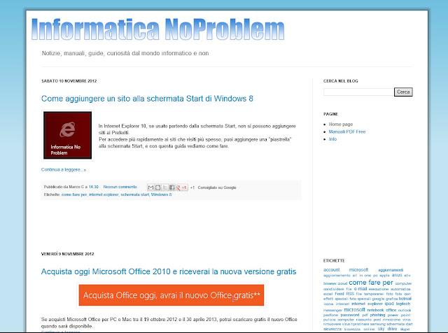 Sito Web a schermo intero - App Internet Explorer - Windows 8