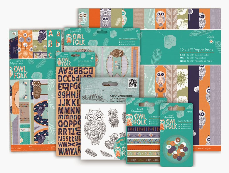 """DOCRAFTS PAPERMANIA OWL FOLK PAPERS 32 X 6/"""" x 6/"""" FOR CARDS AND CRAFTS"""