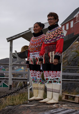 Greenlandic women in their traditional 'best dress'