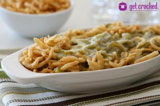 green bean casserole recipe, green beans in Crockpot, slow cooker casserole recipes, best green bean slow cooker casserole