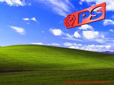 Fundo de ecrã ou papel de parede do Partido Socialista Português emblema da Rosa lateral em estilo stencil para utilizar como fundo de tela do seu ambiente de trabalho