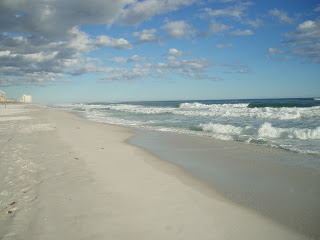 Pensacola beach white sand water waves
