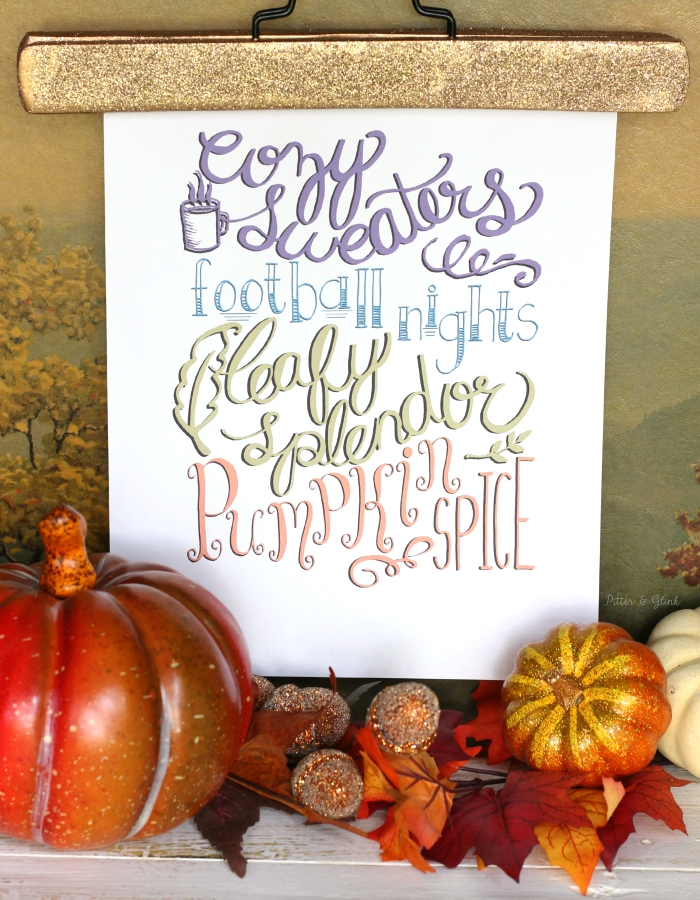Free Hand-Lettered Fall Poem Printable--Perfect for my fall decor! www.pitterandglink.com
