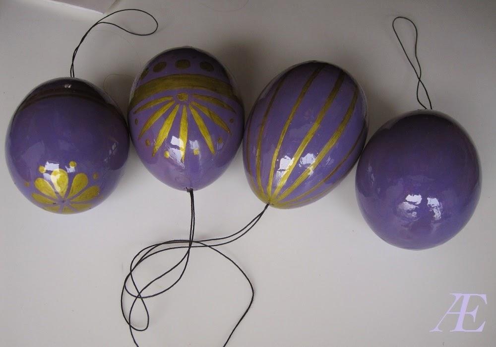 Lilla guld, DIY, maling, lak, påskeæg påske æg, pynt, puste æg, pustede