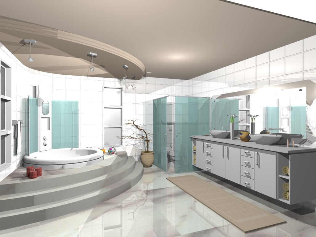 A7%C3%A3o de Banheiros Pequenos  Grandes 2 Banheiros grandes decorados #684841 1024 768