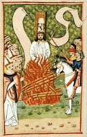 Painting of Jan Hus being burned at the stake for heresy