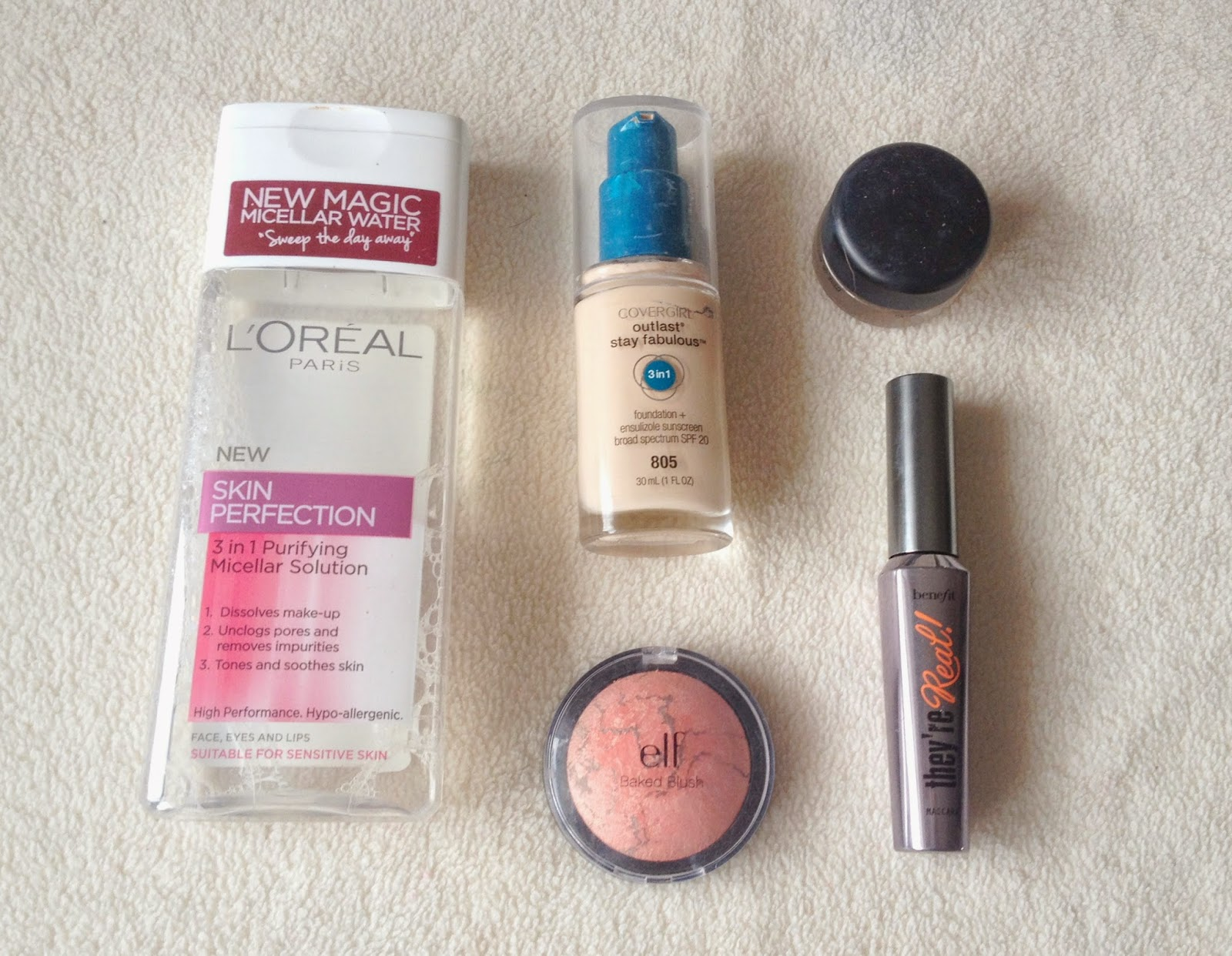 August Favourites - L'Oreal Micellar Water, Benefit They're Real, Covergirl Outlast Foundation, MAC Bare Study Paintpot, Elf Baked Blush in Peachy Cheeky