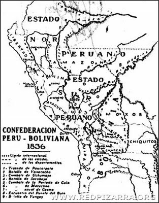 CONFEDERACION PERU-BOLIVIANA MAPA VISTO DESDE BOLIVIA año 1836