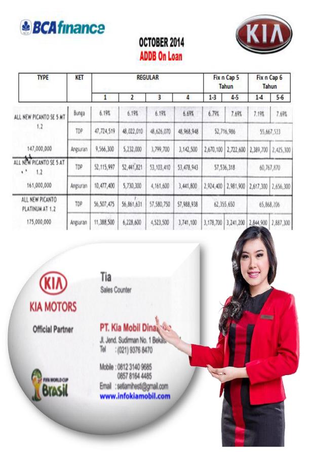 Harga Mobil KIA All New Picanto BCA Finance 2014-2015