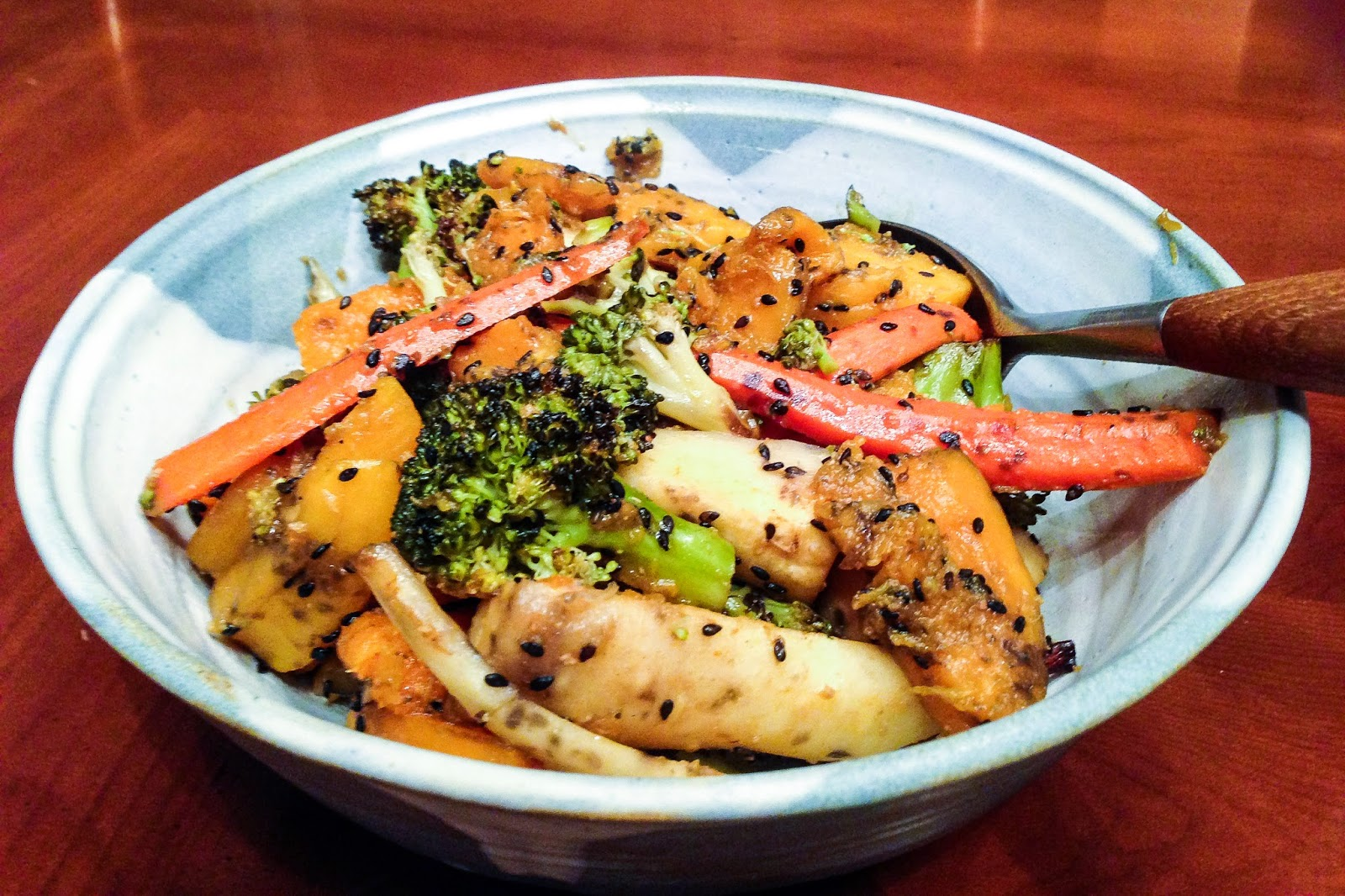 ... Roasted Winter Vegetables with Miso Dressing and Toasted Sesame Seeds