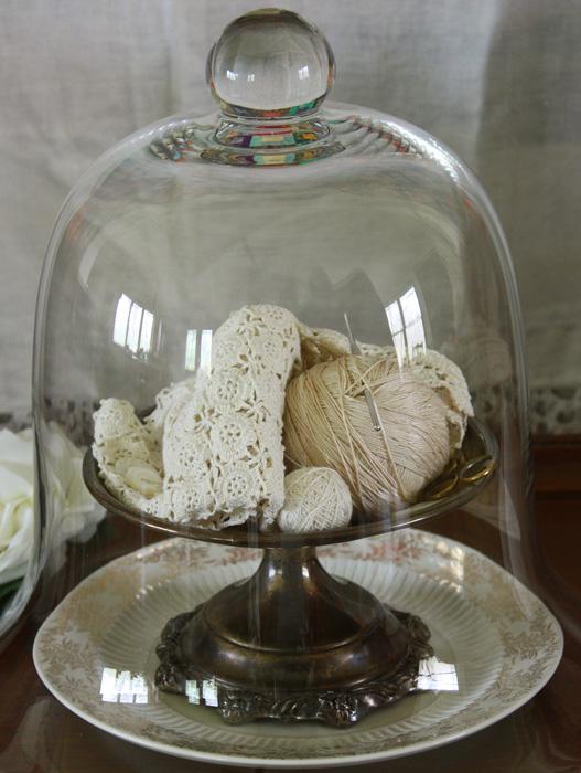 wild rose vintage glass cloche