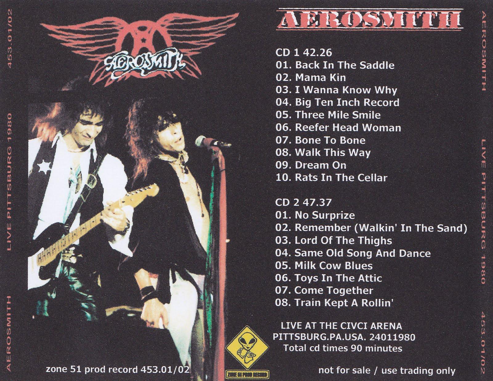 Aerosmith Bootlegs Cover Arts Live Pittsburg 1980
