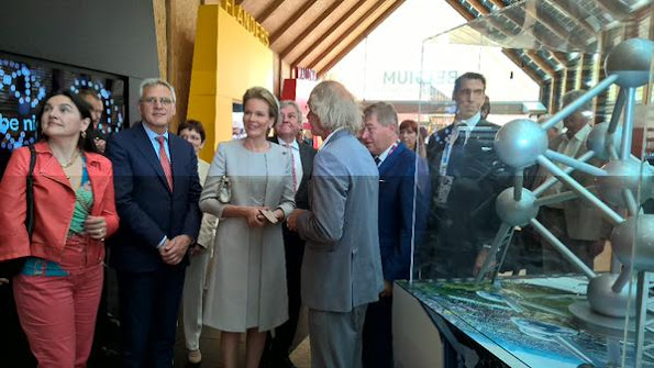 Queen Mathilde of Belgium attends the opening ceremony of the national day of Belgium at the Expo 2015