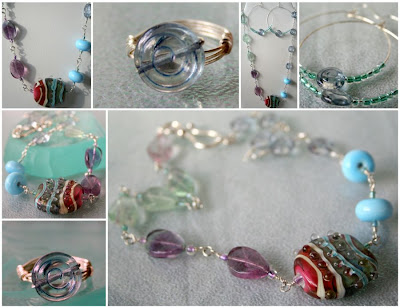 Sunset on the Beach - set: necklace, ring, hoop earrings: glass by Tania Tebbit, wire wrapping, sterling silver :: All Pretty Things