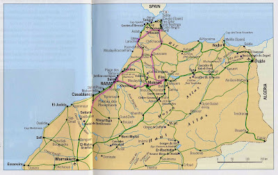 Mapa do norte de Marrocos
