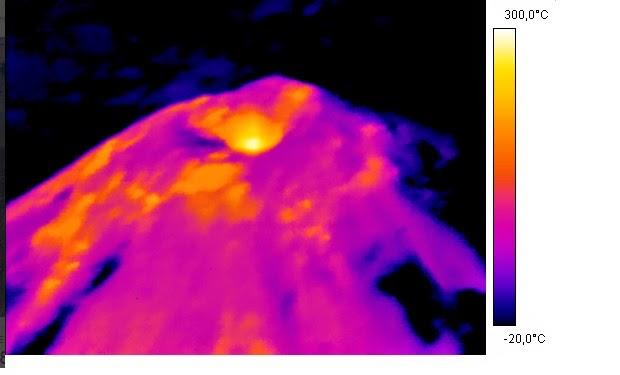 concentración de lava próxima a salir por el cráter del volcán Villarrica