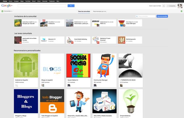 Pantalla Comunitats de la Xarxa Social Google Plus