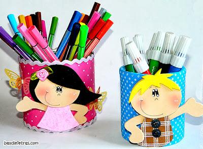 porta lápis com reciclagem de latinhas