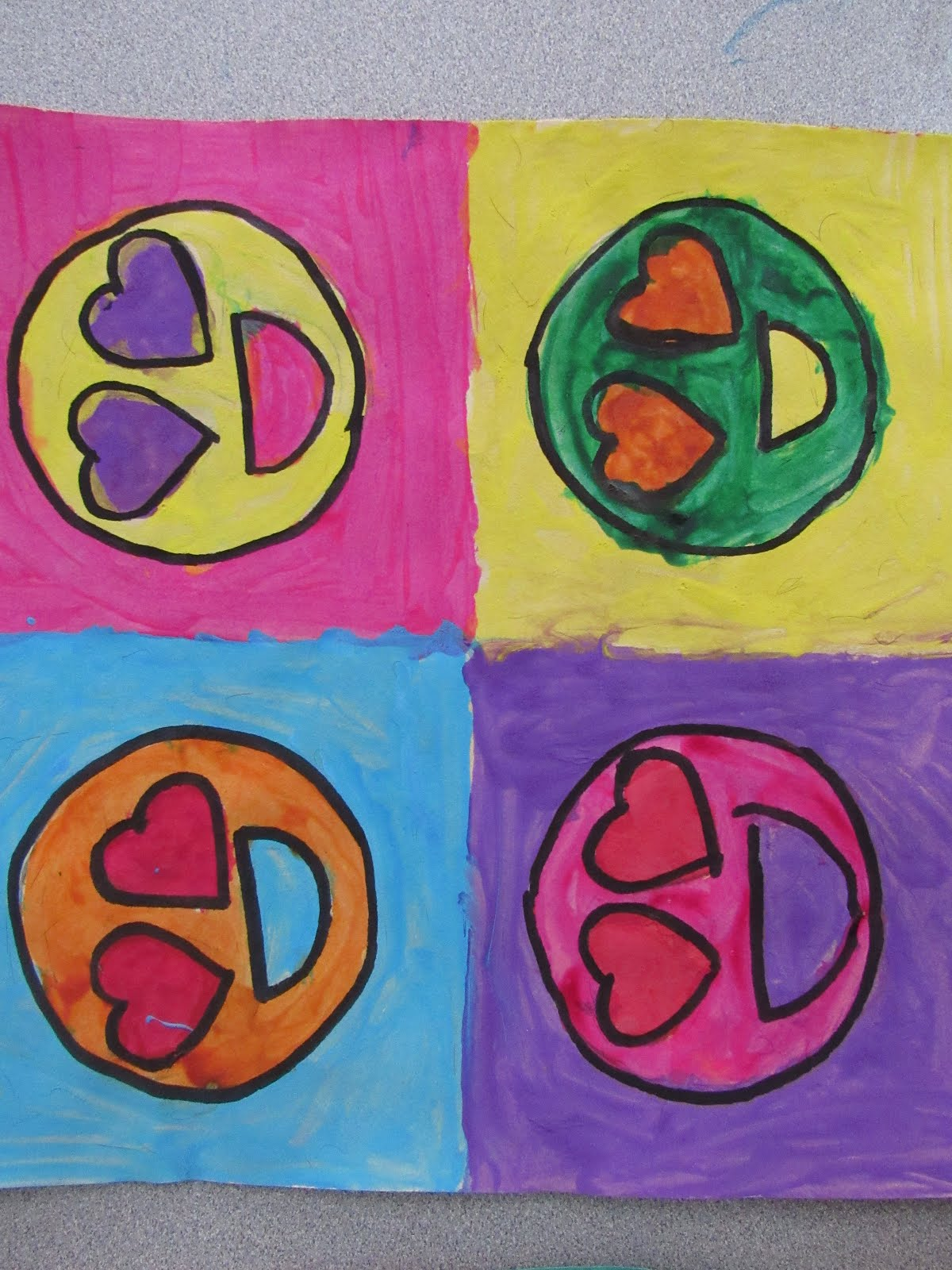 6th Graders Did A Quick Andy Warhol Project To Learn About The Color Wheel And Contrasting Colors They Chose 1 Object Re Drew It 4 Times Painting With