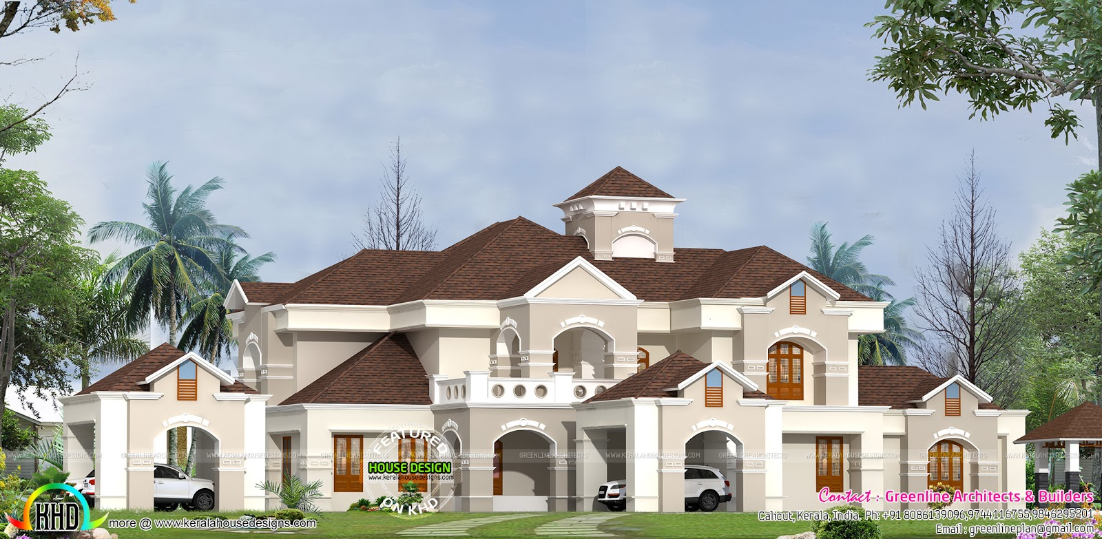Super luxury villa design in kerala kerala home design for Kerala style villa plans