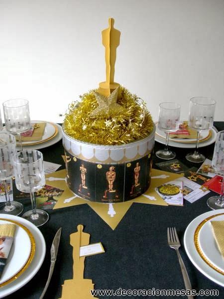 decoracion mesa cine Oscar cumpleaños