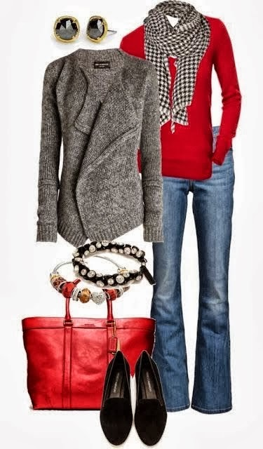 Amazing Cardigan and Scarf, red Sweater and Jeans with Suitable Handbag, Shoes and Accessories