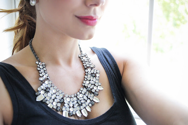 Amy West modeling statement necklace