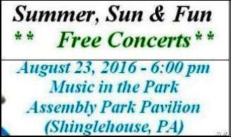 8-23 Summer, Sun & Fun Free Concerts