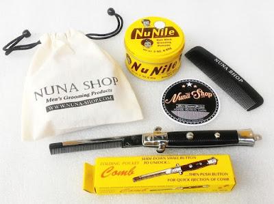 Paket Hemat Pomade Nu Nile + Switchblade Comb (SB) + Pouch + Stiker + Sisir Saku