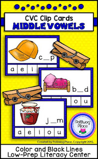 CVC Clip Cards - Middle Vowels - Literacy Center Activity