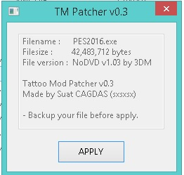PES 2016 tattoo mod Patcher v0.3 by sxsxsx