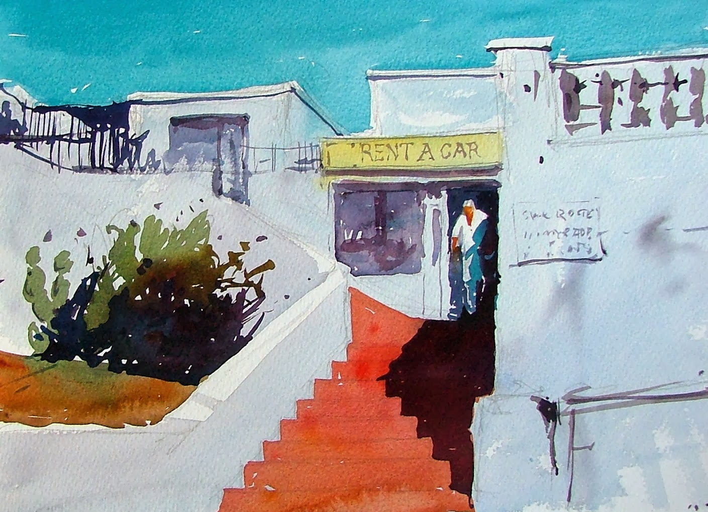 Tim wilmot watercolours september 2013 - Car rental puerto del carmen ...