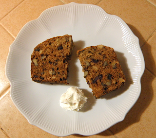 Two Pieces of Date Nut Bread with Cream Cheese Ball