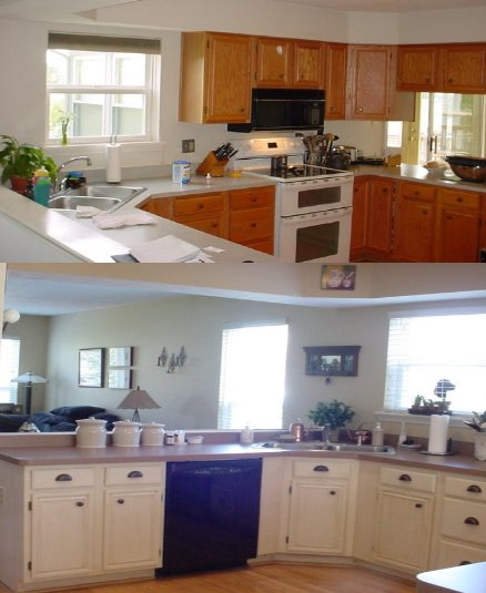 kitchen trends painting kitchen cabinets before and after. Black Bedroom Furniture Sets. Home Design Ideas