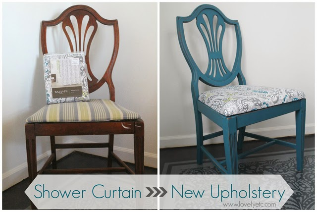 Dining room chairs transformed with a shower curtain